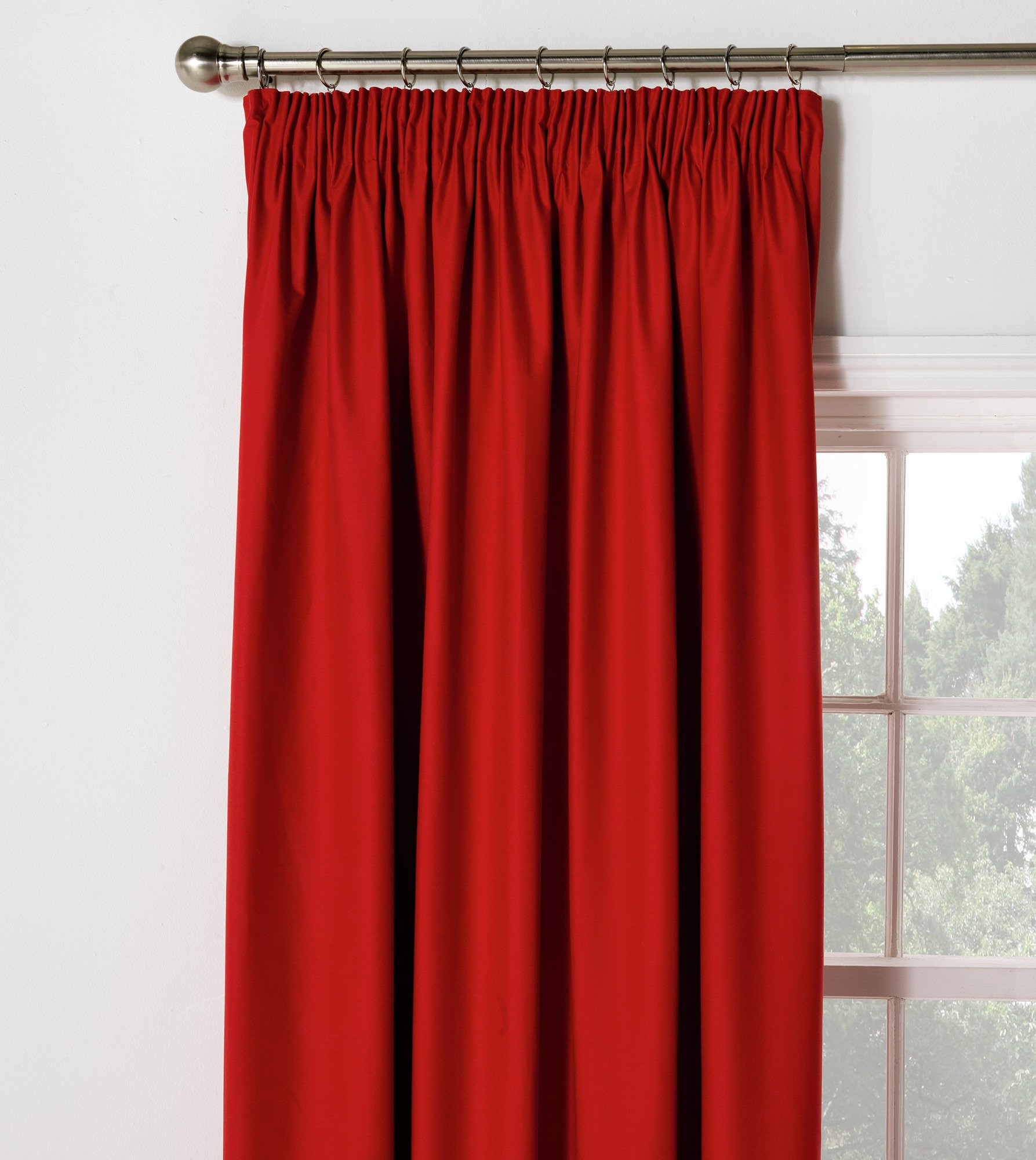 ColourMatch Blackout Pleat Thermal Curtain - 117x137cm - Poppy Red