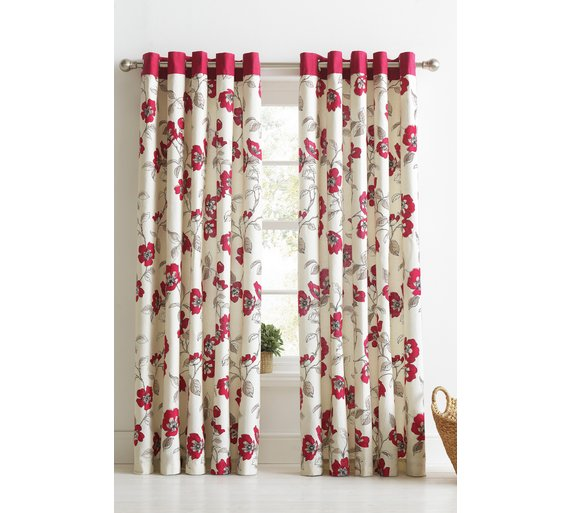 Buy HOME Mia Unlined Eyelet Curtains - 168 x 183cm - Floral at ...