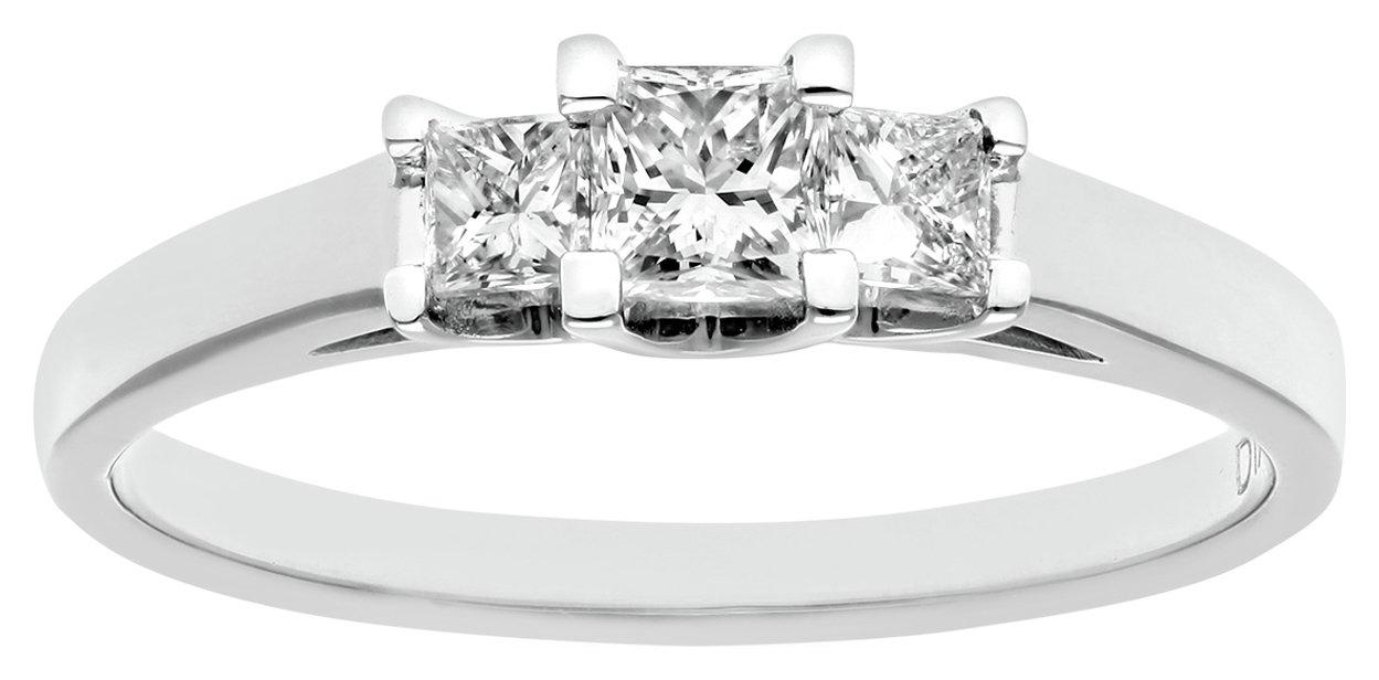 18 Carat White Gold 050 Carat Princess Cut Ring - Size O
