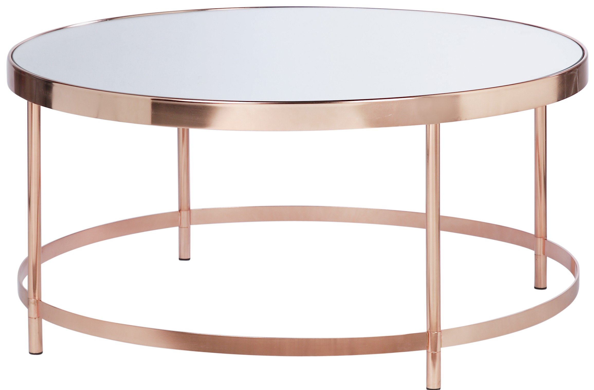 buy collection round glass top coffee table - copper plated at