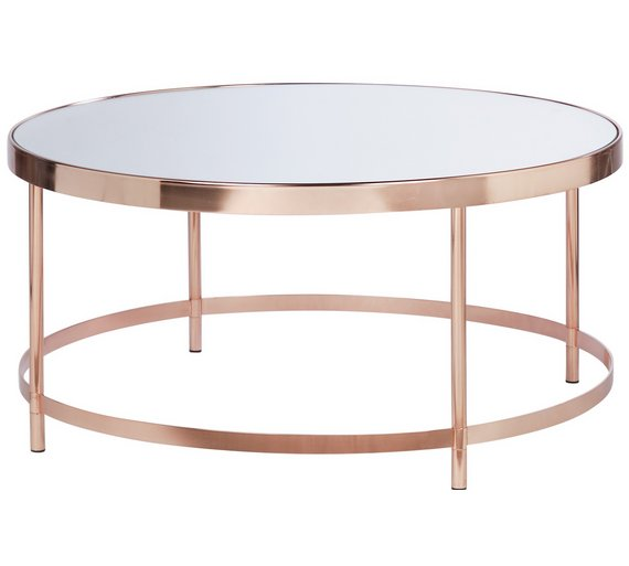 Buy Collection Round Glass Top Coffee Table Copper Plated At Your Online Shop