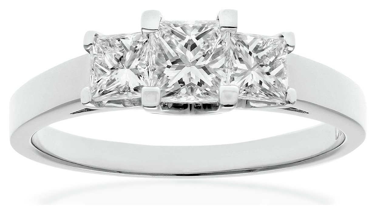 Image of 18ct White Gold 1.00ct Diamond Trilogy Ring - Size T