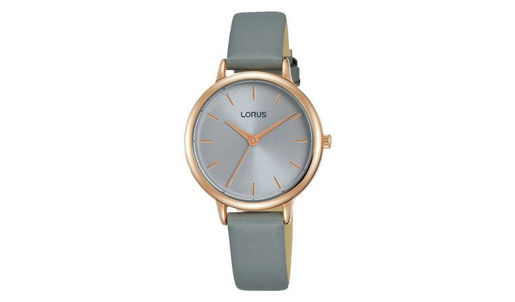 Lorus Ladies Grey Leather Strap Watch