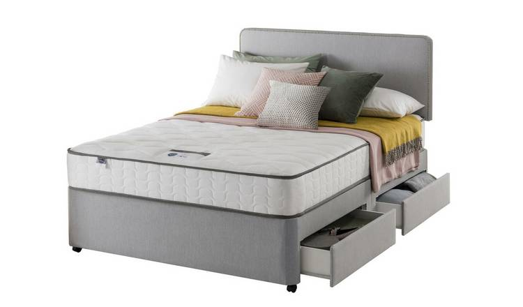 Silentnight Pavia Comfort 4 Drawer Grey Divan - Double