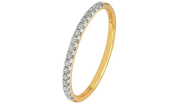 Revere 9ct Gold 0.15ct Diamond Claw Set Eternity Ring - M