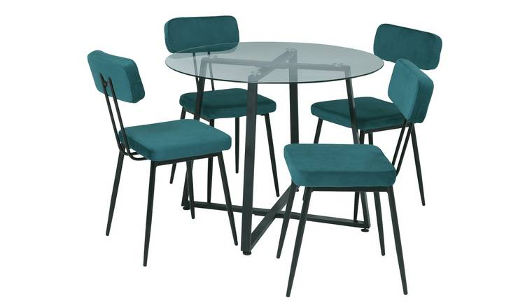 Argos Home Lazio Glass Dining Table & 4 Teal Chairs