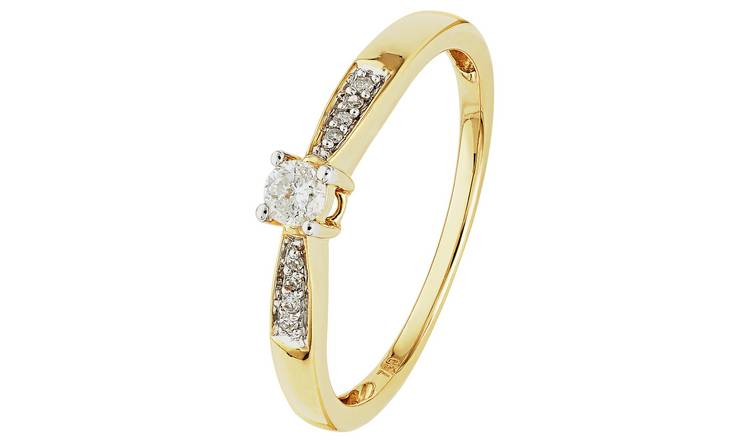 Revere 18ct Gold 0.10ct tw Diamond Solitaire Ring - O