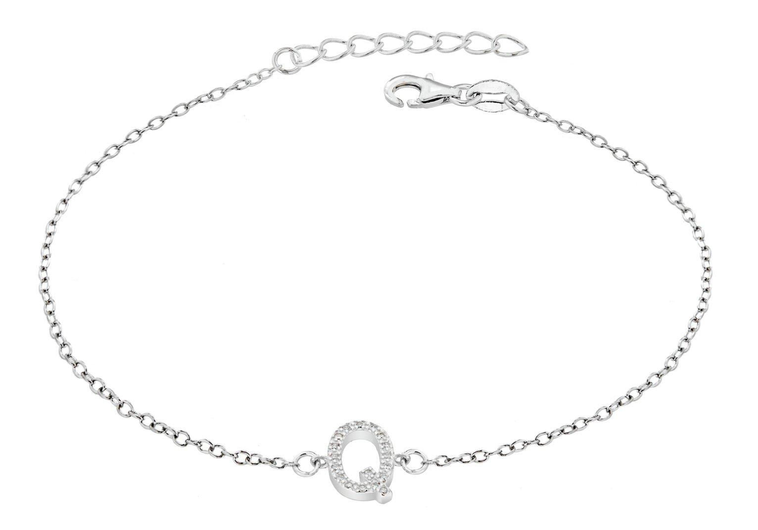 Sterling Silver Cubic Zirconia Initial Bracelet - Q
