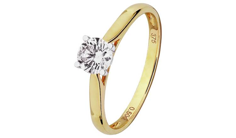 Revere 9ct Gold 0.50ct tw Diamond Solitaire Ring - L