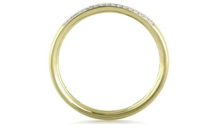Revere 9ct Gold 0.10ct Diamond Double Row Band Ring - K