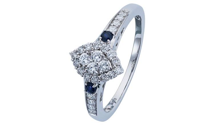 Revere 9ct White Gold Sapphire and 0.33ct tw Diamond Ring -O