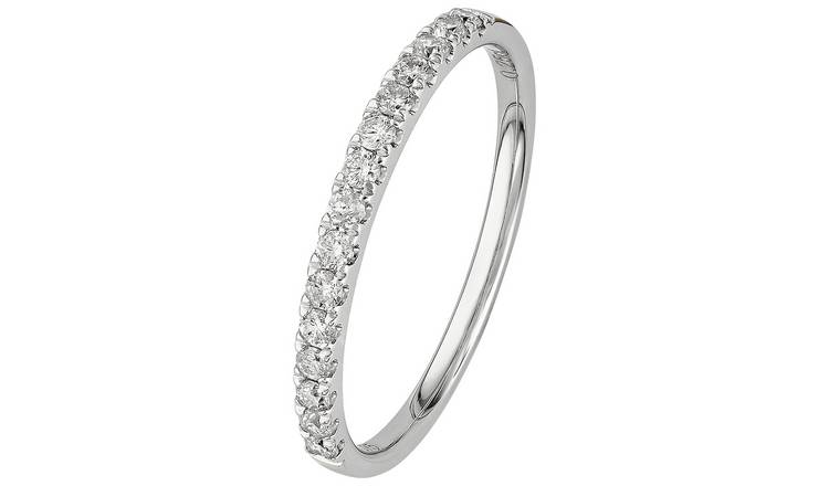Revere 9ct White Gold 0.25ct tw Claw Set Eternity Ring - Q