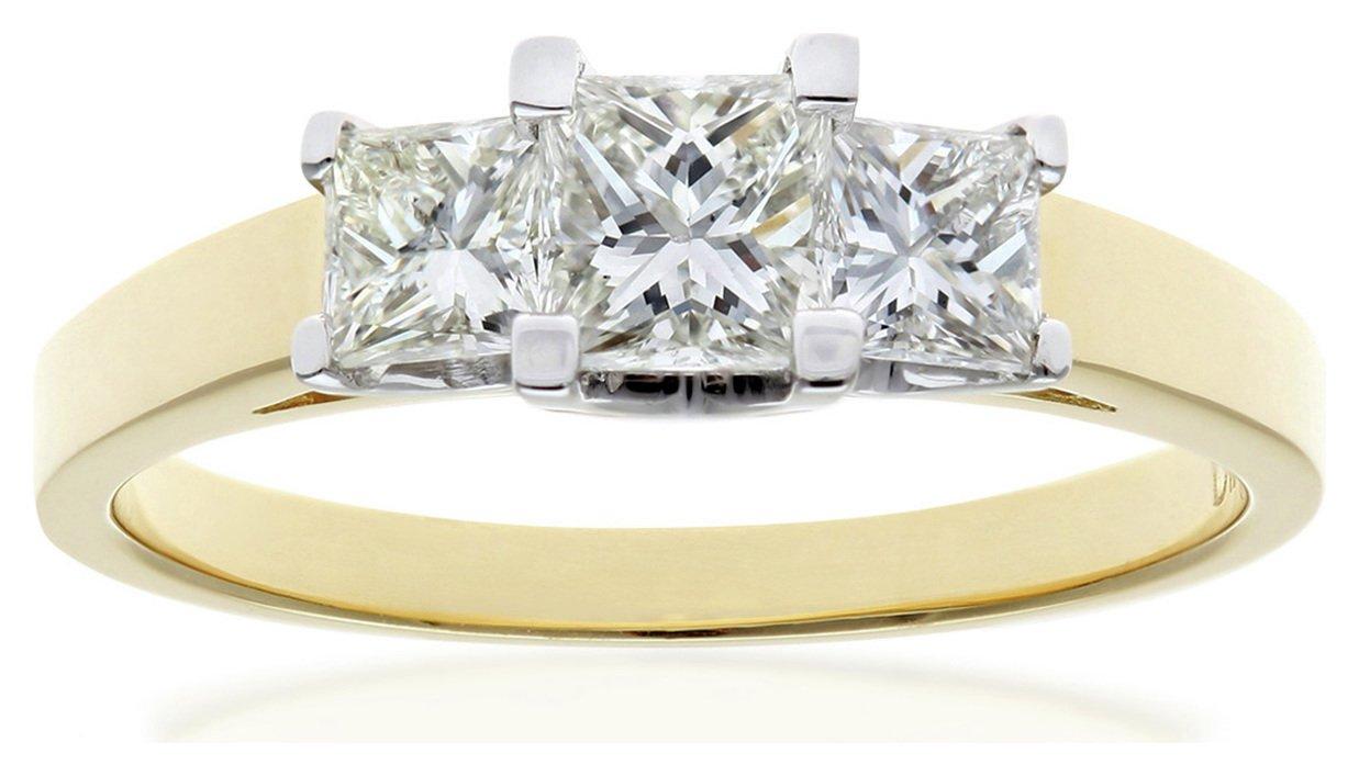 Image of 18ct Gold 1.00ct Diamond Princess Cut Trilogy Ring - Size W