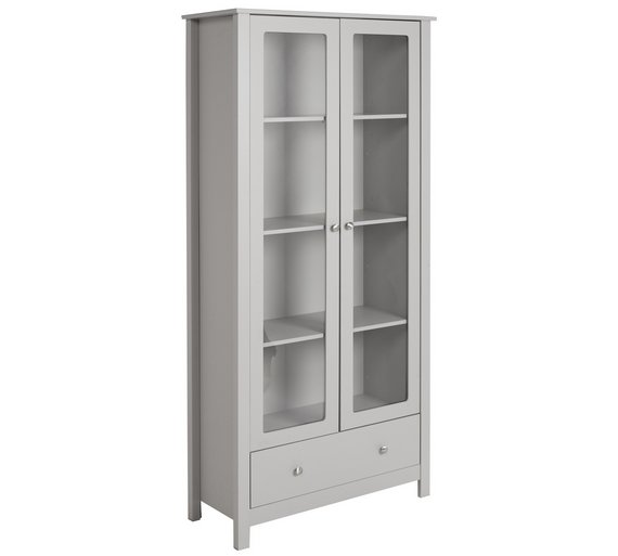 Buy Argos Home Osaka 2 Door 1 Drw Glass Display Cabinet Grey