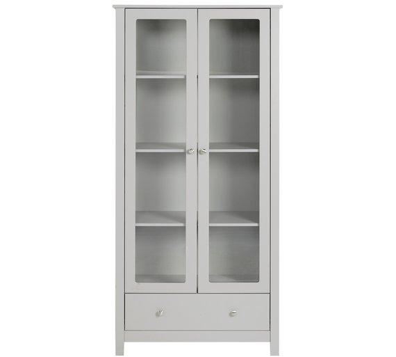 Buy Argos Home Osaka 2 Door 1 Drw Glass Display Cabinet Grey