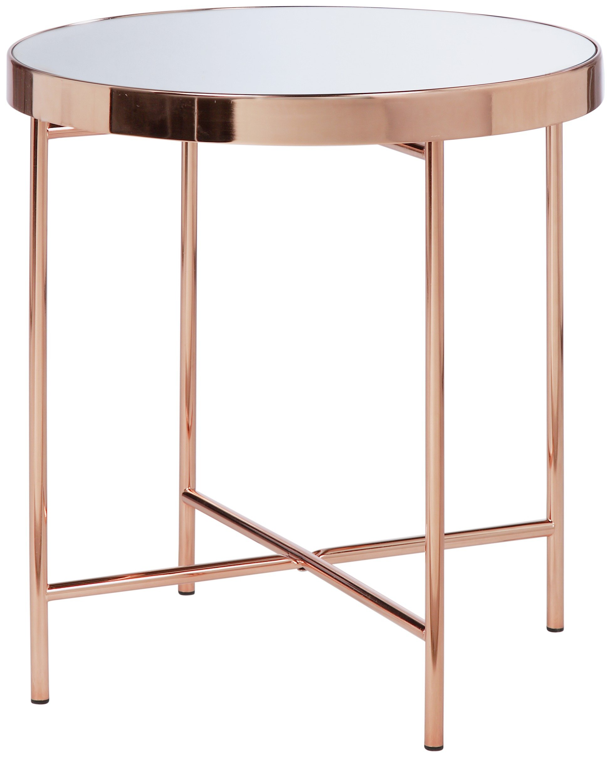 Argos Home Round Glass Top Side Table Copper Plated