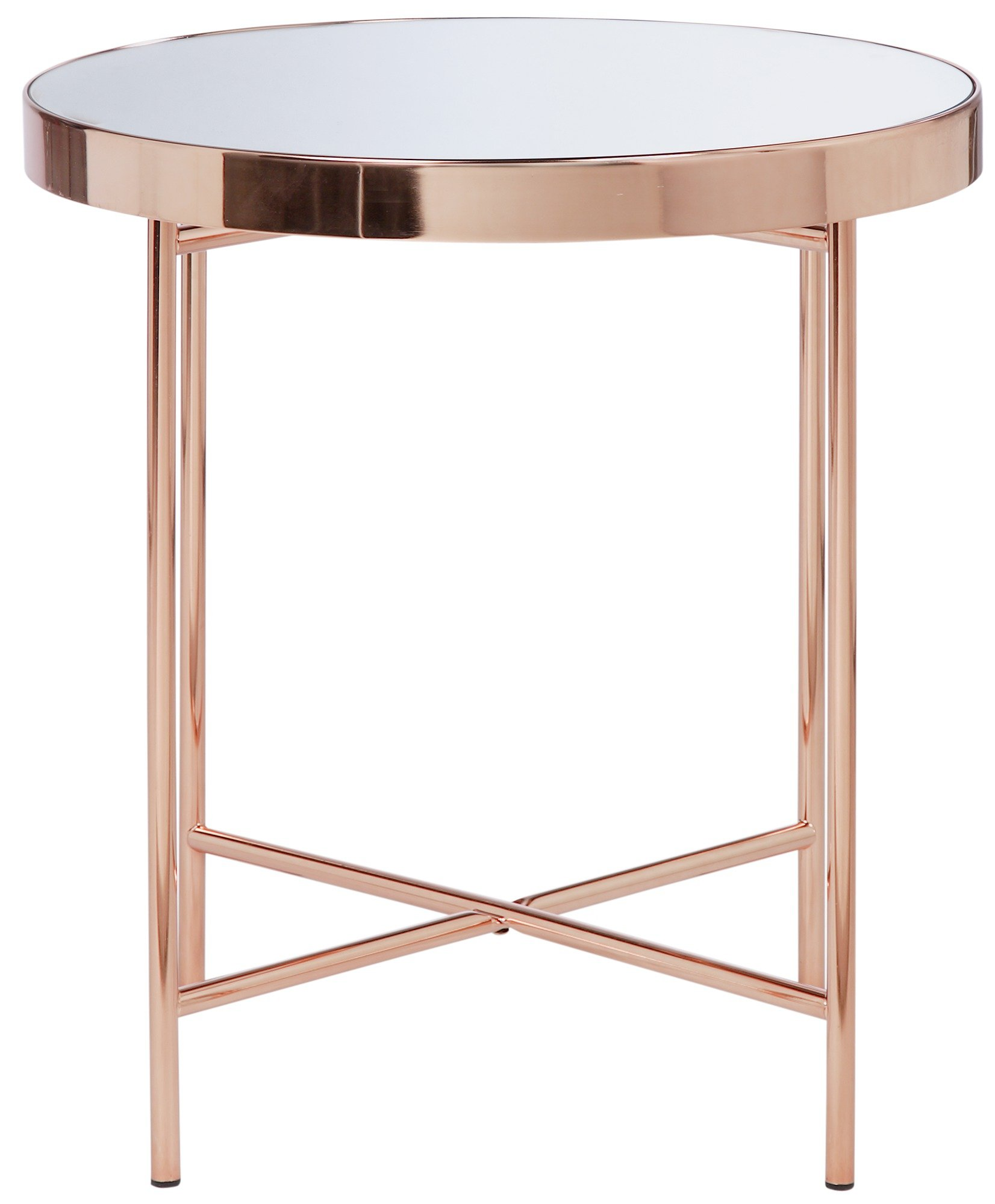 buy collection round glass top side table - copper plated at argos