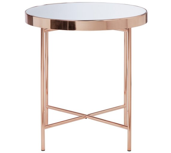 Buy Collection Round Glass Top Side Table Copper Plated At Your Online Shop For