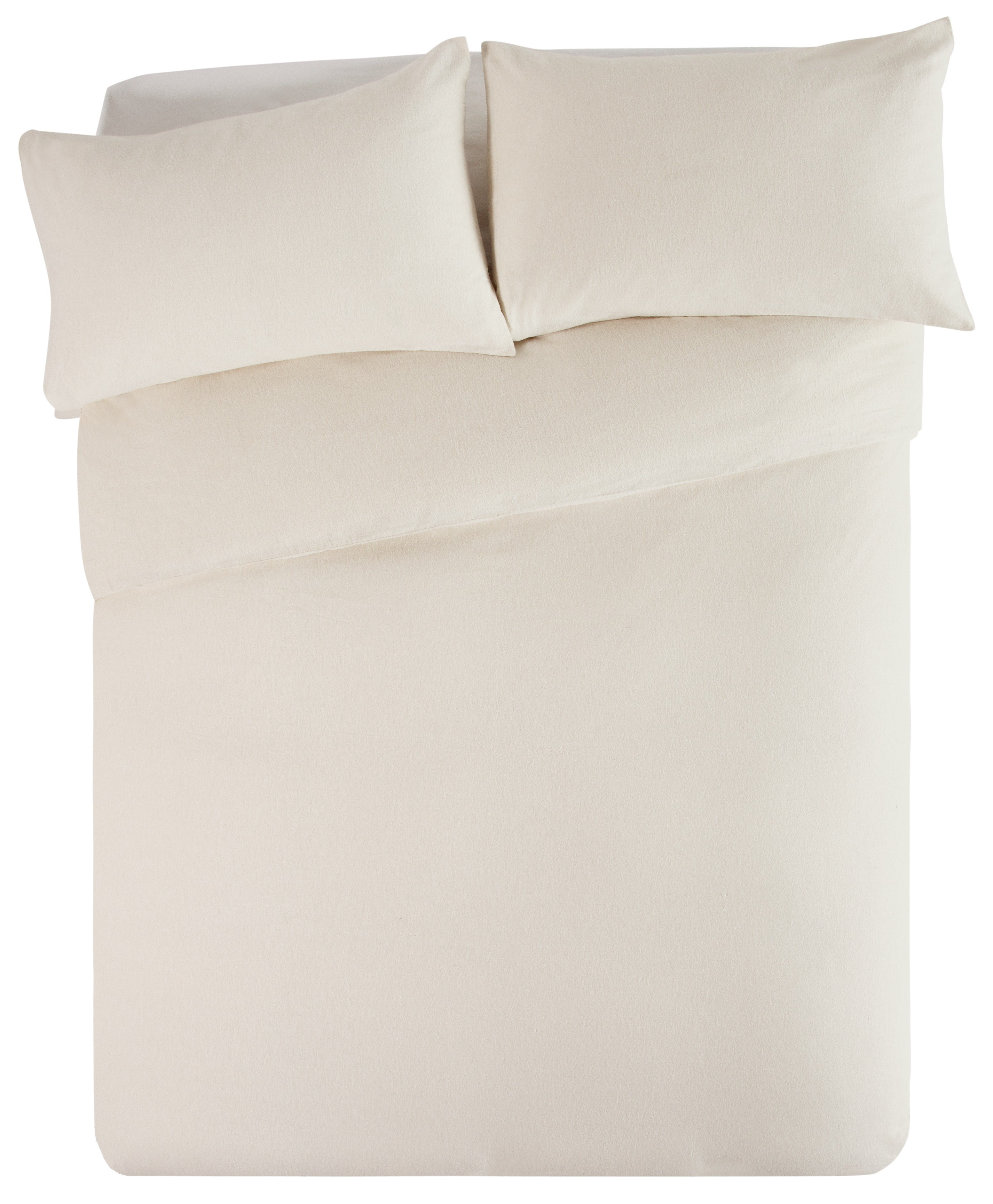 Collection - Cream Brushed Cotton - Bedding Set - Double