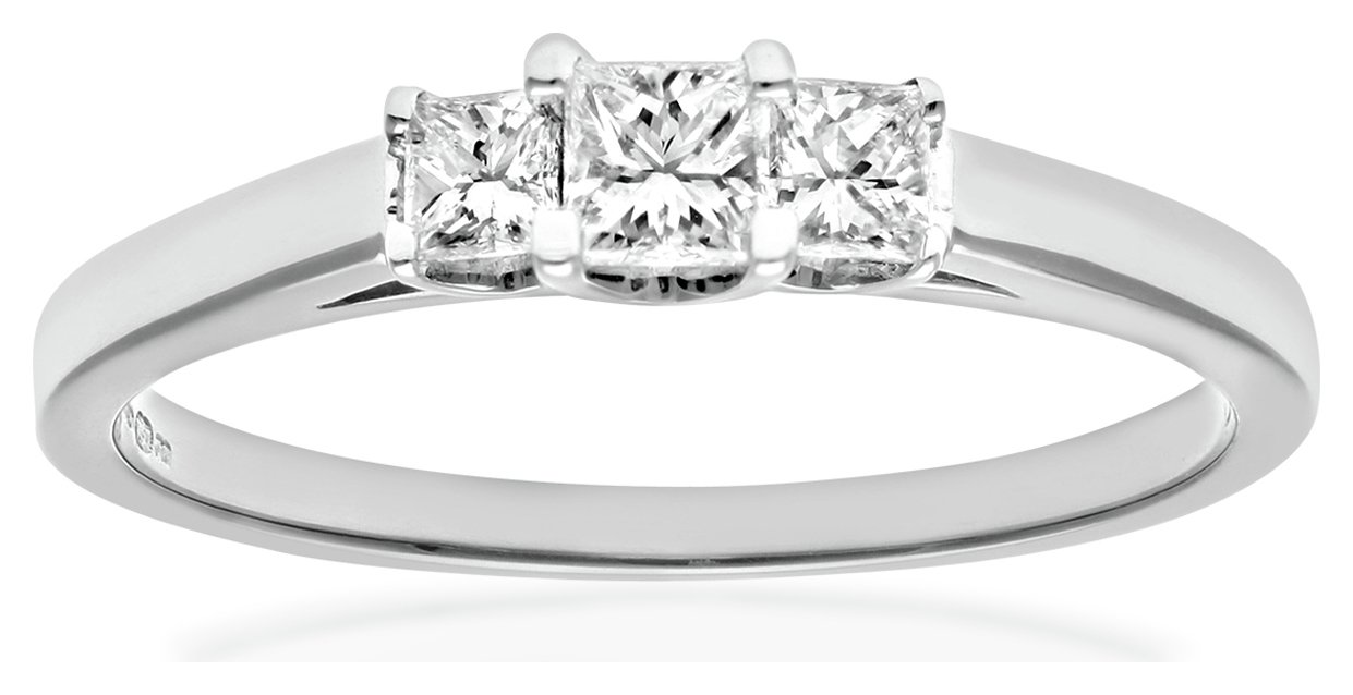 18 Carat White Gold 033 Carat Diamond - Princess Cut Ring - Size U