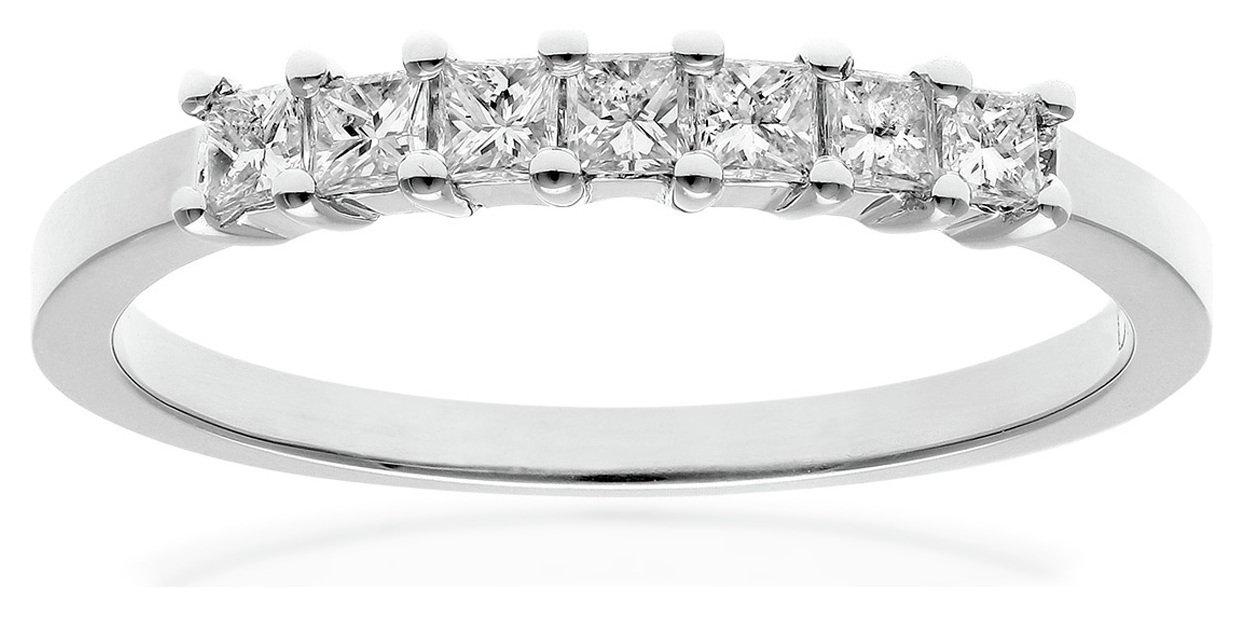 18 Carat White Gold - 033 Carat Diamond - Princess Cut Ring - Size Q