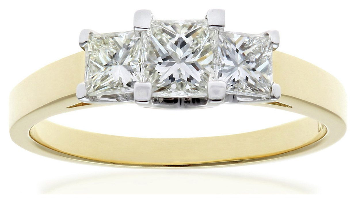 Image of 18ct Gold 1.00ct Diamond Princess Cut Trilogy Ring - Size Q