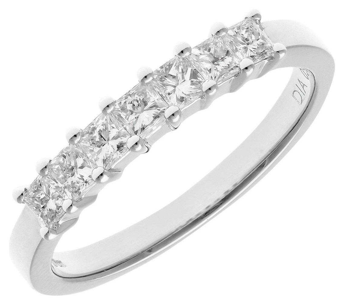 Buy 18ct White Gold 0 50ct Diamond Princess Cut Ring Size Q at