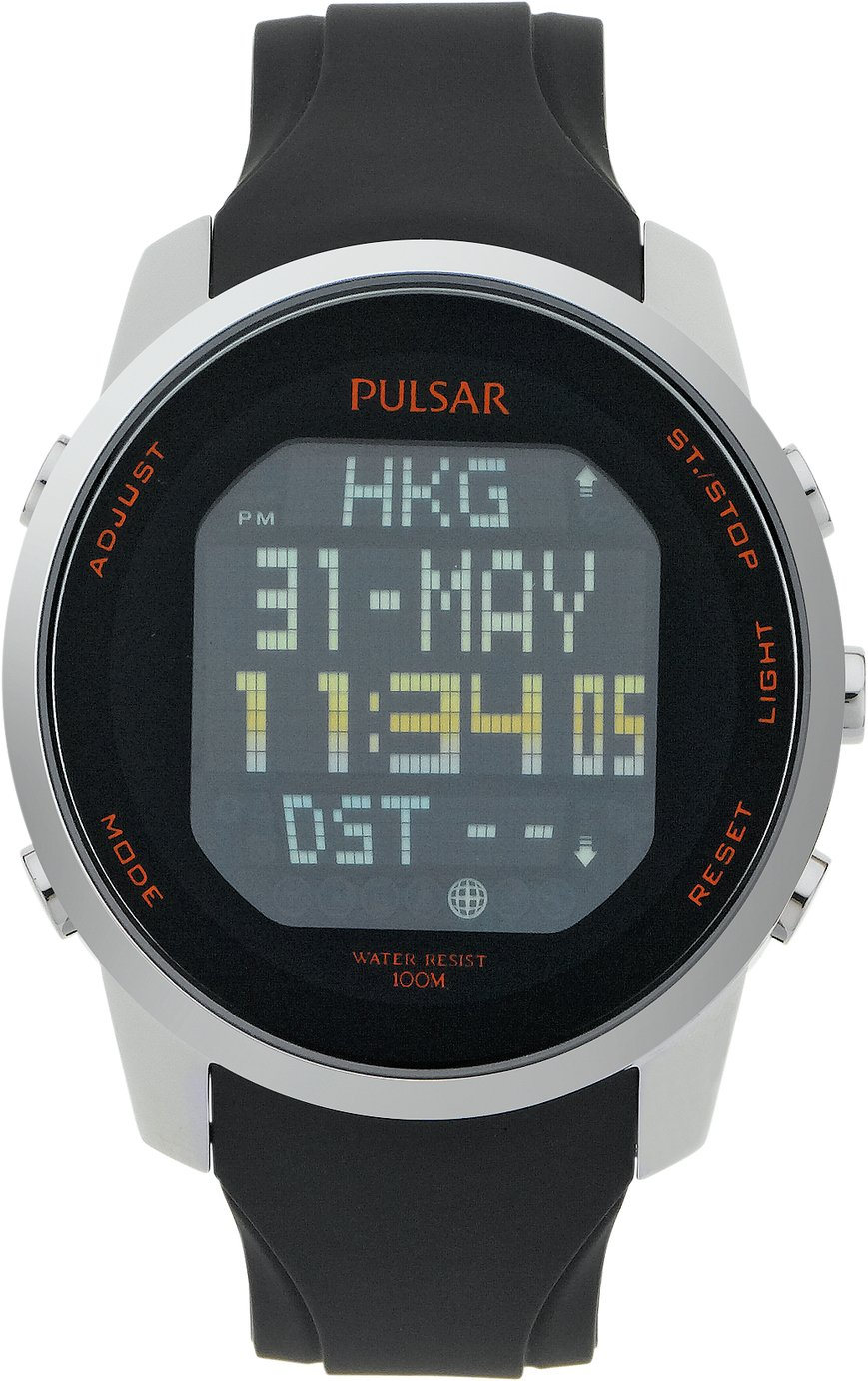 Pulsar Men's Black Silicone Strap Digital Watch