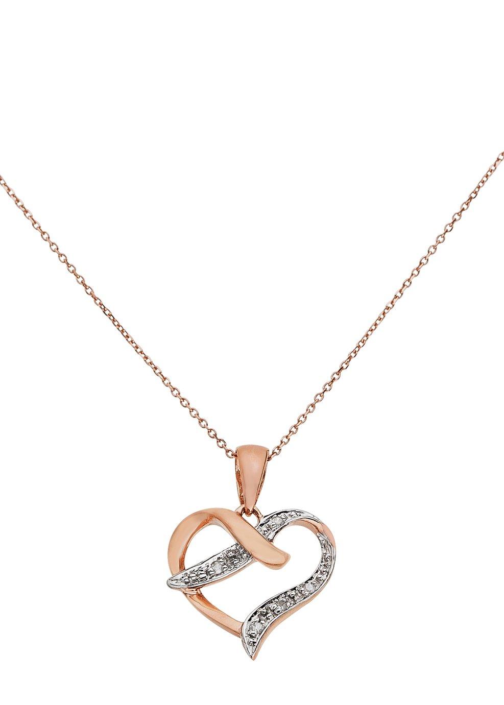 Revere 9ct Rose Gold Diamond Accent Pendant 18 Inch Necklace