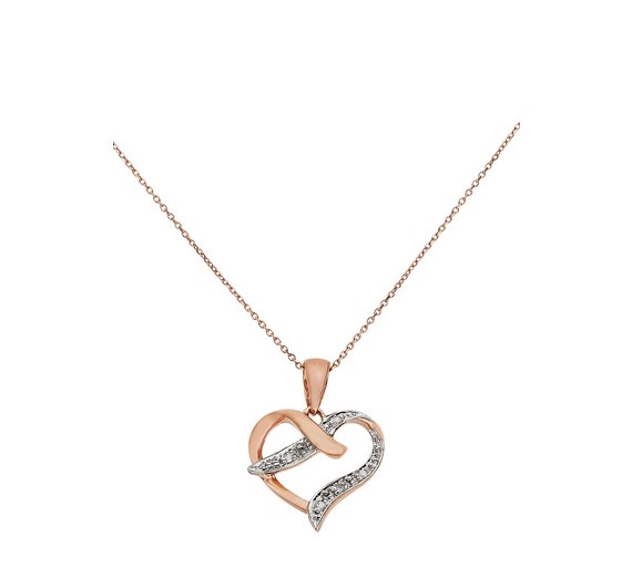 Buy revere 9ct rose gold diamond accent heart pendant ladies revere 9ct rose gold diamond accent heart pendant aloadofball Image collections