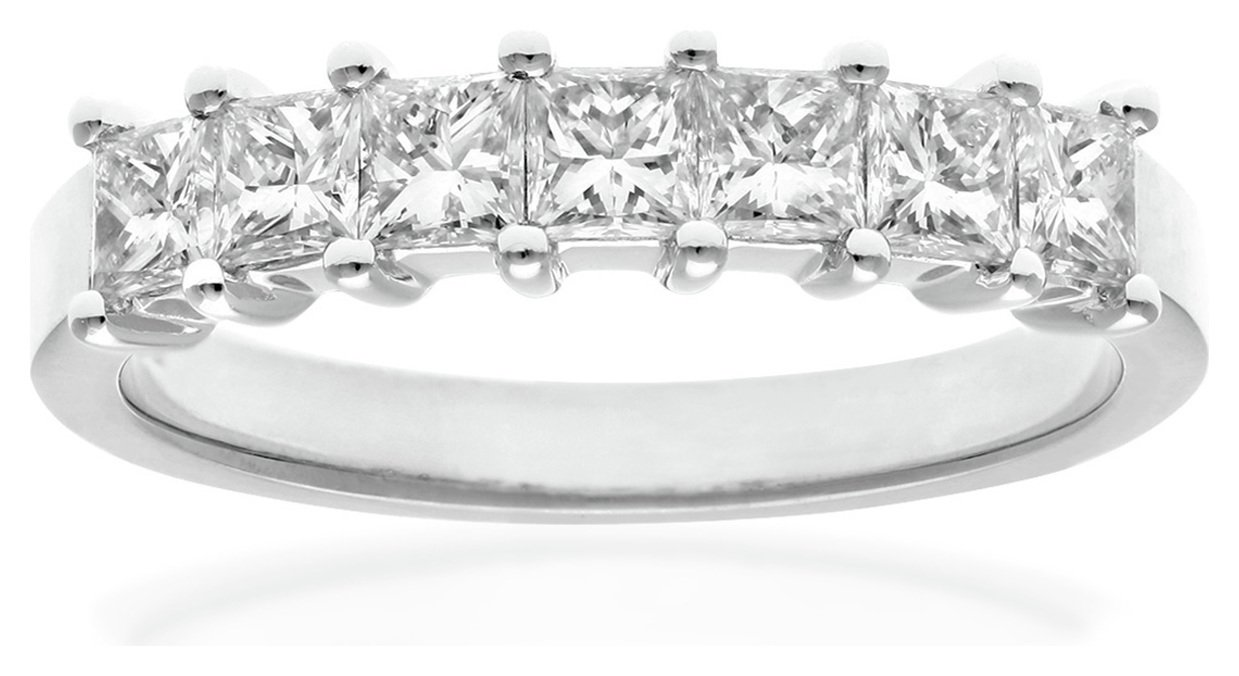 Image of 18 Carat White Gold 1 Carat Diamond - Princess Cut Ring - Size W