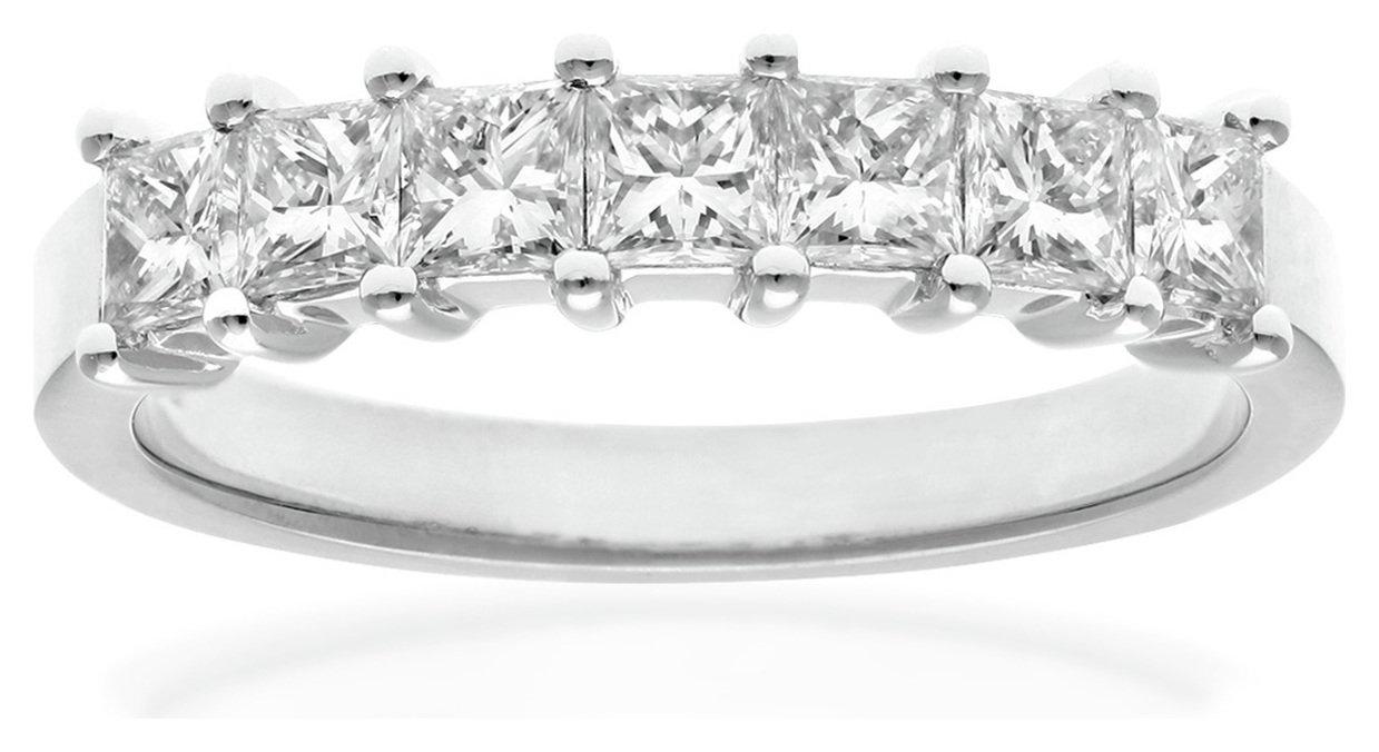 18 Carat White Gold 1 Carat Diamond - Princess Cut Ring - Size W