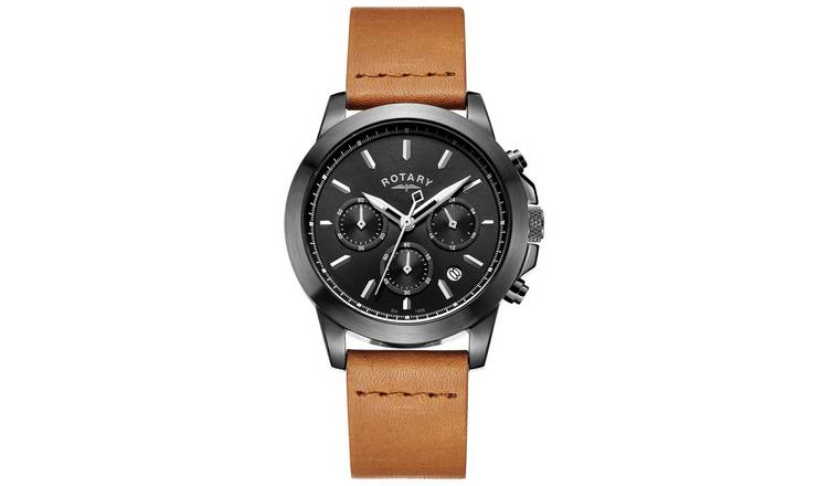 Rotary Men's Chronograph Brown Leather Strap Watch