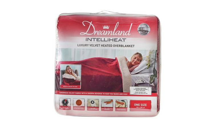 Dreamland Intelliheat Luxury Wine Velvet Heated Overblanket