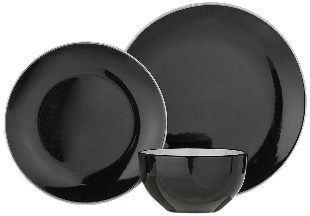 ColourMatch 12 Piece Stoneware Dinner Set - Jet Black