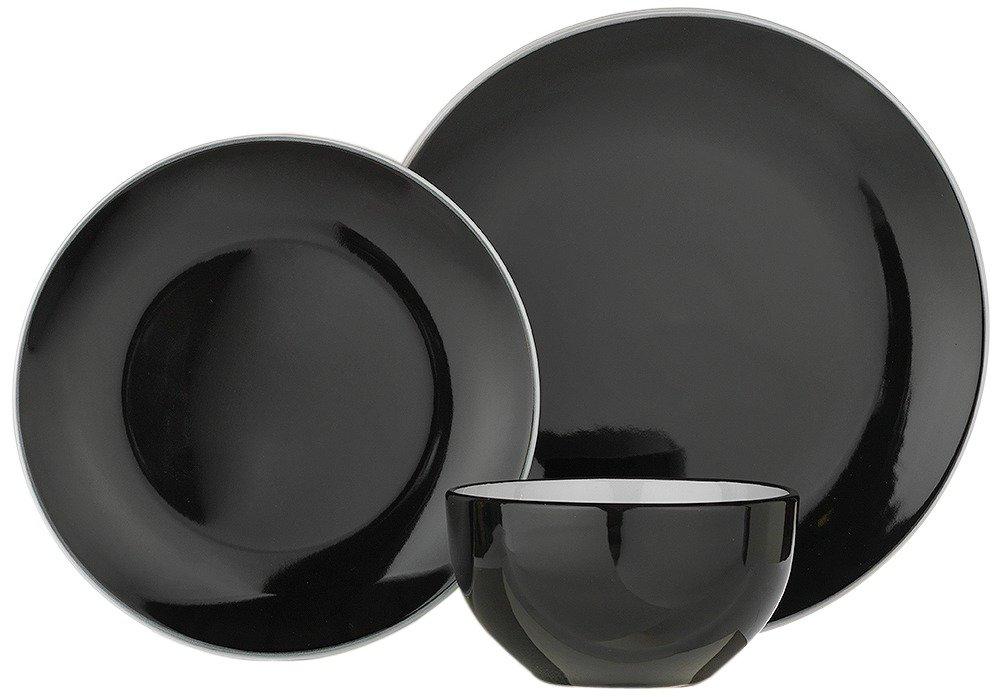 Image of ColourMatch - Stoneware 12 Piece Dinner Set - Jet Black