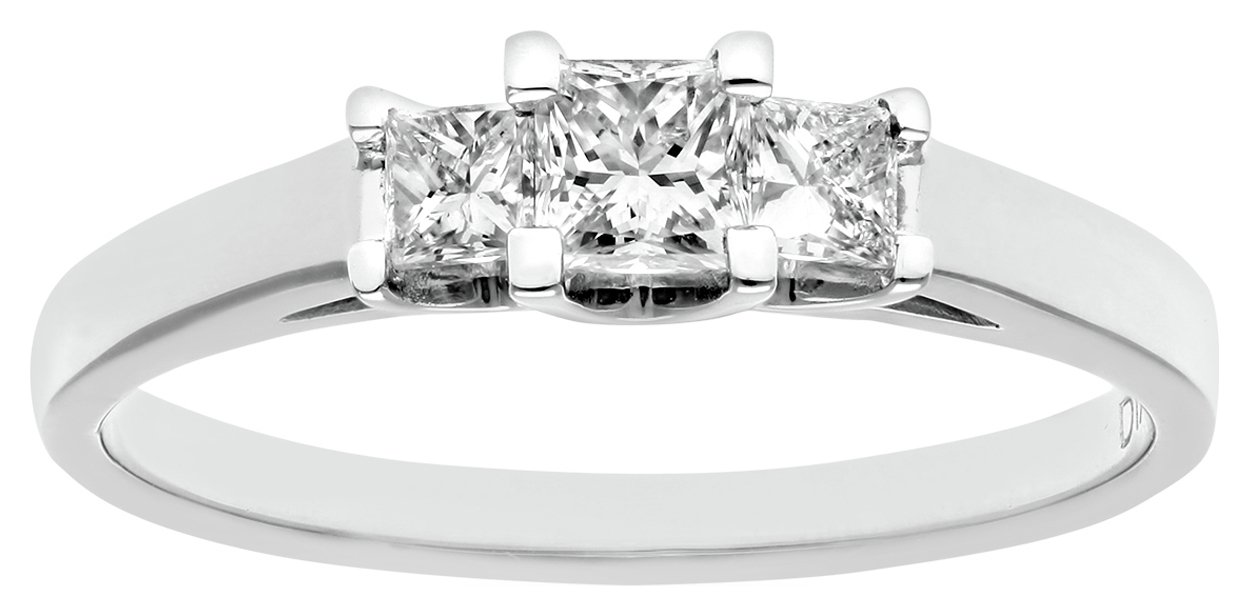 everlasting love 18ct White Gold 0.50ct Diamond Princess Cut Trilogy Ring - Size N