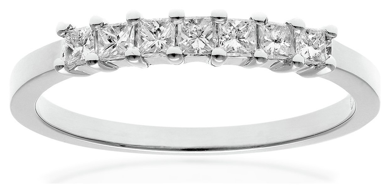 18 Carat White Gold - 033 Carat Diamond - Princess Cut Ring - Size M