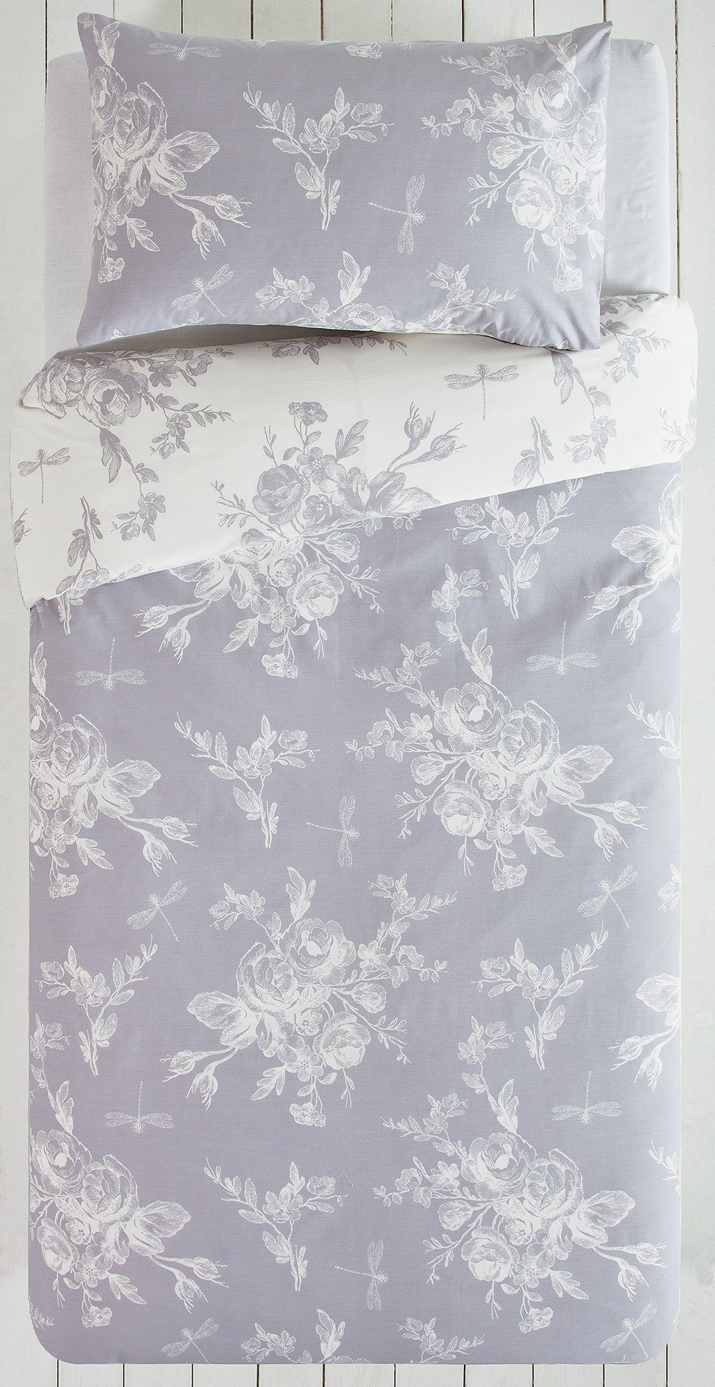collection  lottie grey and white  bedding set  single