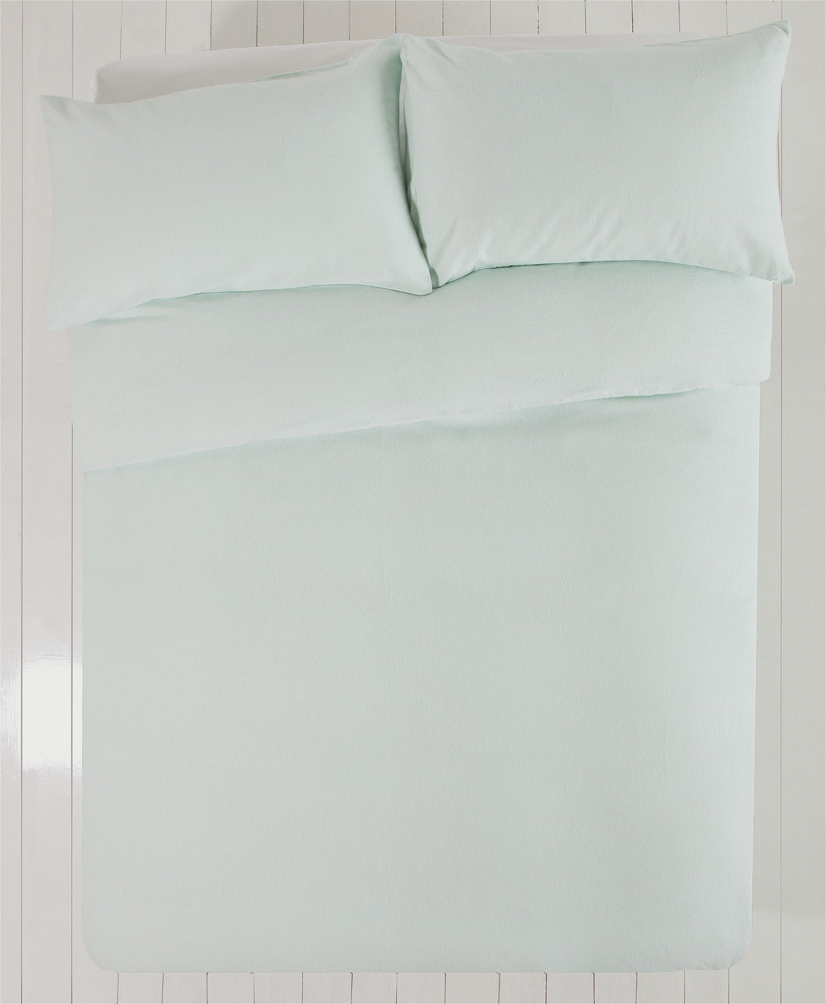 Collection - Blue Brushed Cotton - Bedding Set - Double