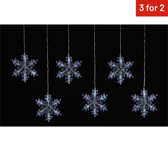 Argos 6 Snowflake Window Lights