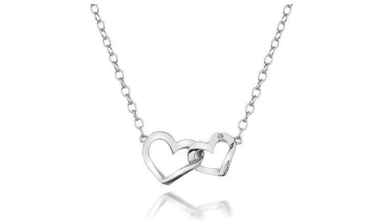 Accents by Hot Diamonds Silver Open Hearts  Pendant Necklace