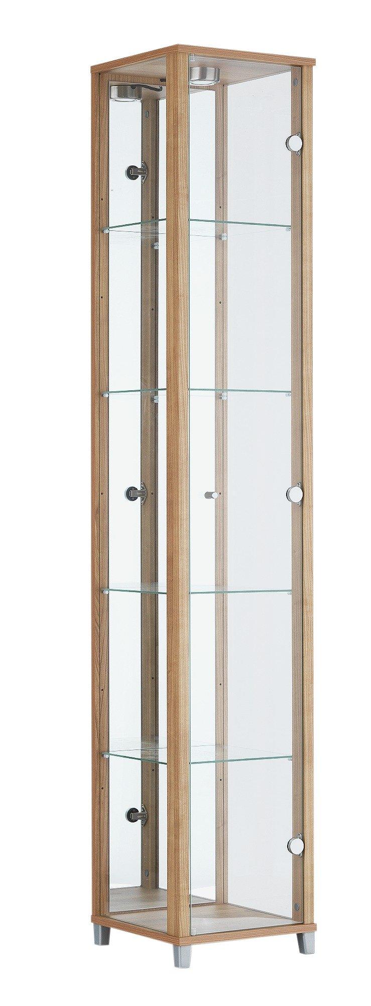argos home 1 glass door display cabinet oak 5289390. Black Bedroom Furniture Sets. Home Design Ideas