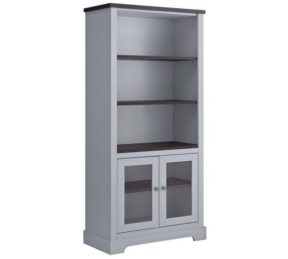 stone painted index grey low bookcase oak small swainswick