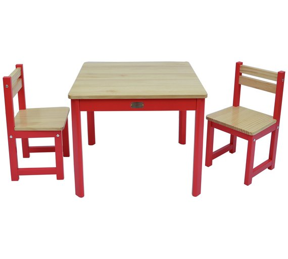 Buy Tikk Tokk Boss Wooden Nursery Table And Chairs Set Red At - Nursery tables and chairs