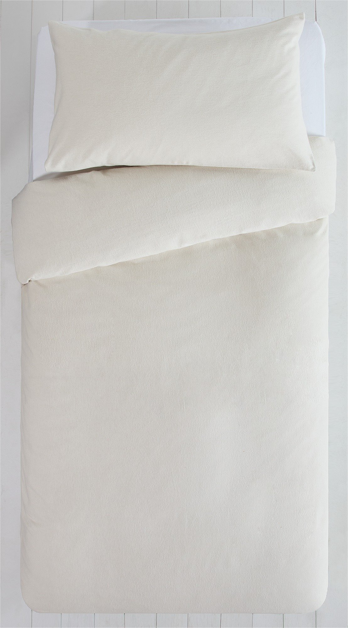 Collection - Cream Brushed Cotton - Bedding Set - Single
