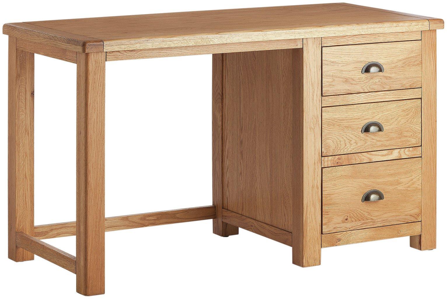 Habitat Kent 3 Drawer Office Desk - Oak & Oak Veneer