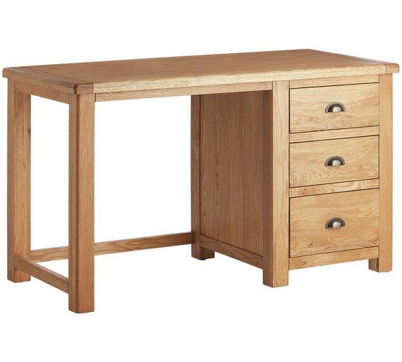 buy argos home kent 3 drawer office desk oak oak veneer office