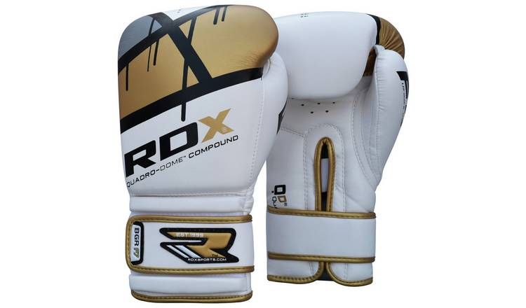RDX 16 Oz Leather Boxing Gloves - Gold.