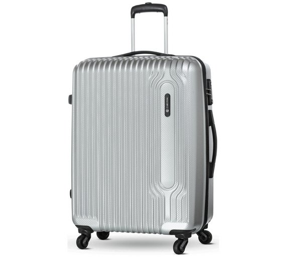 Buy Carlton Tube Small 4 Wheel Hard Suitcase - Silver at Argos.co ...